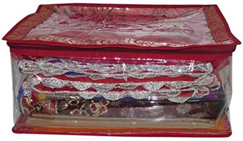 Ridhi & Sidhi 1 Transparent Brocade Saree Cover - Upto 10 Sarees   (Maroon)