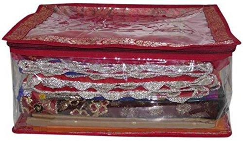 Ridhi & Sidhi 1 Transparent Brocade Saree Cover - Upto 10 Sarees (Maroon)
