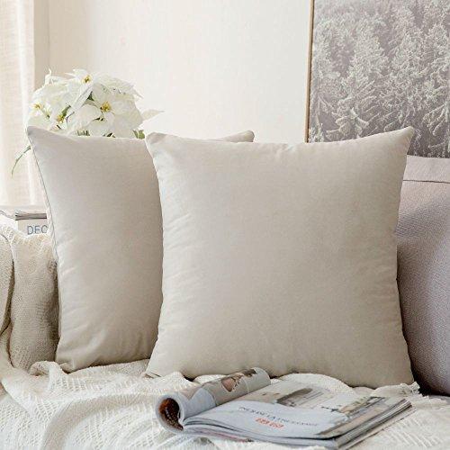 MIULEE 2er Set Samt Soft Solid Dekorative Quadrat Wurf Kissenbezüge Set Kissen Fall für Sofa Schlafzimmer Auto Creme weiß 16x16 Zoll 40x40 cm -
