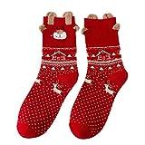 VJGOAL Damen Socken, 1 Paar Weihnachten Geschenke Frauen süße Baumwolle Socken Multi-Color Winter warme gemütliche Baumwolle Socken (A,1 PC)