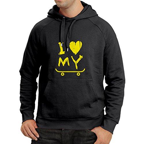 Felpa con cappuccio i love my skate ! (large nero giallo)