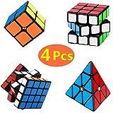 Yetech 4PCS Speed Magico Cubo Set - Smooth Magic Puzzle Cube 2x2x2 3x3x3 4x4x4 Piramide Triangolo Cube Miglior Regalo per Bambini Adulti