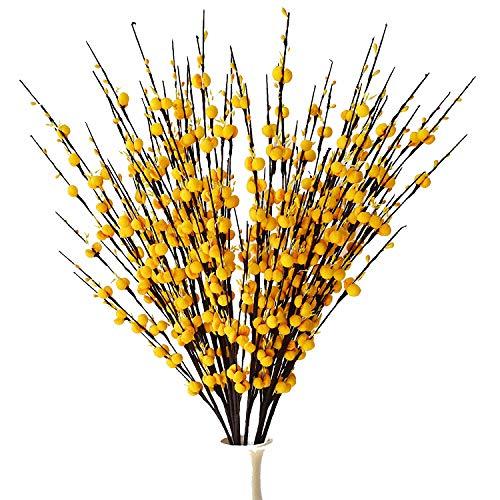 misswarm 10Stück Plum Blossom Blooms Blumen Künstliche Blumen Spray für Hochzeit Bouquet/Posy Tisch Arrangement oder Home Dekoration Yellow 10
