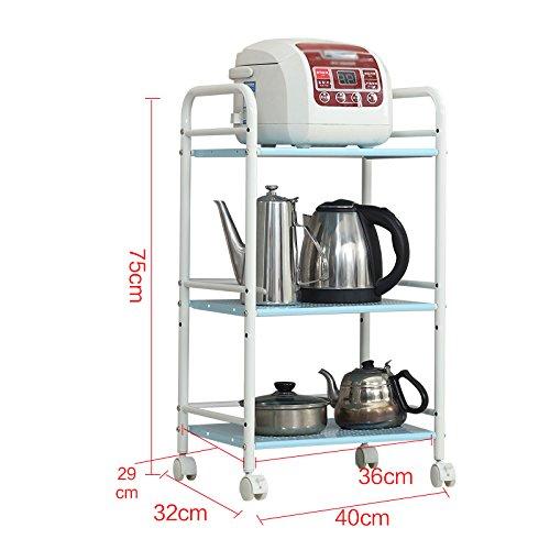 GYP Estantería de cocina, Horno de microondas Estante de aterrizaje Cocina Estante de almacenaje Estropajo Estuche Estante de acero inoxidable ( Color : Azul , Tamaño : 40*32*75CM )