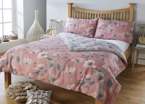 RW Home Bettwäsche-Set, Blumenmuster, pflegeleicht, Rosa, Rose, Einzelbett