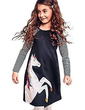 NINGSANJIN Mädchen Kleider Baumwolle Langarm Herbst Karikatur Prinzessin T-Shirt Kleid NY-592