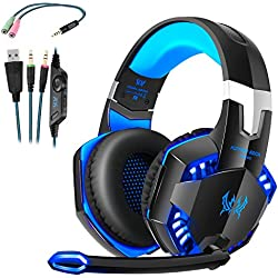 Cascos Gaming, Auriculares Gaming con Micrófono Headset Mac Estéreo Juego Gaming Jack 3,5mm LED Bajo Ruido Compatible con PC / Xbox One / Móvil / etc