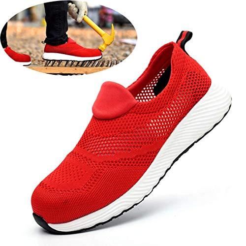 ZTM Scarpe Antinfortunistiche Scarpe da Lavoro per Uomo Scarpe Antinfortunistiche Leggere Scarpe Sportive e Traspiranti Antinfortunistiche Sneakers da Donna Unisex,Red,8.5