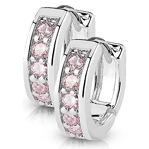 Bungsa silberne Damen-Ohrringe Kristalle pink I hochwertige Klapp-Creolen mit Kristallen für Frauen Edelstahl