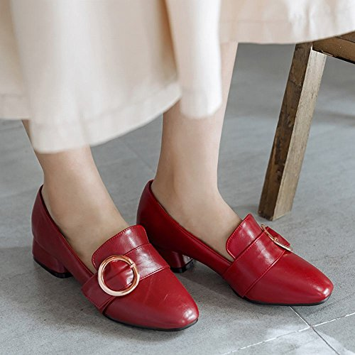 Mee Shoes Damen chunky heels vierkant Geschlossen Pumps Weinrot