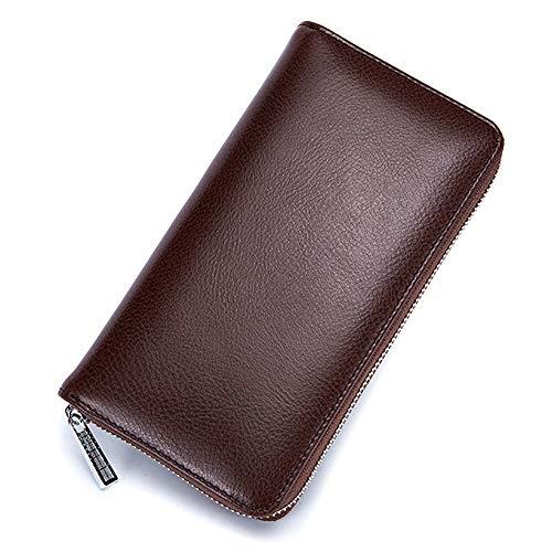 Lange Brieftasche, Reisepass-Paket Reißverschluss-Guthabenkupplung Diebstahlsichere Leder-Sperrung Ausweishülle Geldbörse Mit 36   Karten Für Männer Und Frauen,Brown -