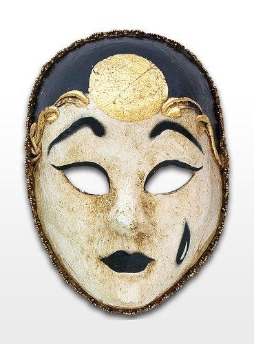 Venezianische Mini Maske zur Dekoration Pierrot in (Pierrot Maske Schwarze Weiße Und)