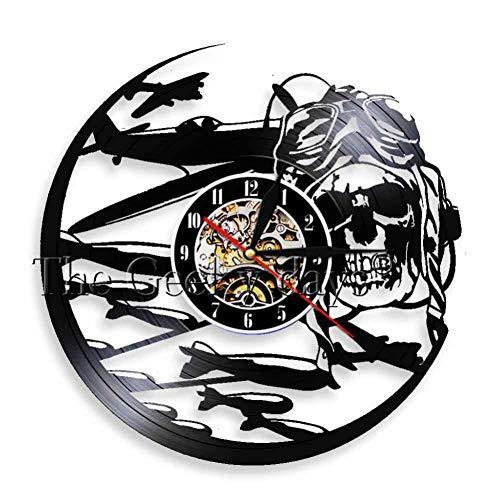 SSCLOCK Rétro Pilote crâne Horloge Murale aviateur Squelette Disque Vinyle Horloge Murale Avion Avion Jet Volant Casque Hipster Lunettes crâne Mur déco