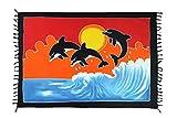 Ciffre Sarong Pareo Wickelrock Strandtuch Tuch Schal Wickelkleid Strandkleid Delfin Sonnenuntergang + Schnalle