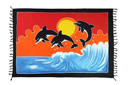 2 er SET Pareo Sarongs Wickelrock Strandtuch Handtuch Badetuch Sarong Wickelkleid Wickeltuch Tuch Schal Riesen Auswahl Premium Qualität von EL Vertriebs Gmbh 2 er Set Delfin - Handbemalt
