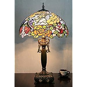 Lampada da tavolo europeo Tiffany 16 pollici Blooming Flowers Vintage Pastorale lusso Desk Lamp Lampada da comodino