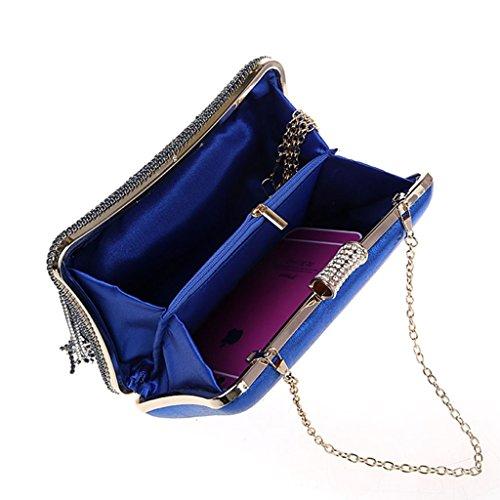 La pochette nuova borsa da sera moda borsa borsa fibbia diamante nappa banchetto ( Colore : Viola ) Blu