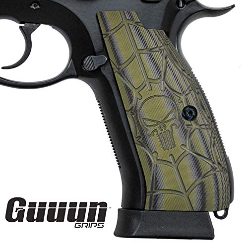Guuun CZ 75 SP-01 Grips Full Size SP-01 Shadow Tactical CZ Griffe, Cobweb Punisher Skull Texture G10 Pistolen Griff -