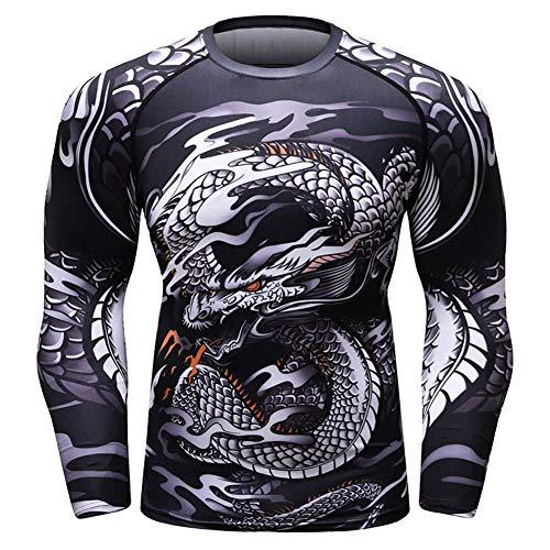 OBHDGVWN Neue KompressionLangarm T-Shirt Männer 3D Muscle Fitness UFCStrumpfhosen Bodybuilding Cross Fit Quick Dry Rash Guard @ - Cross Guard Kostüm