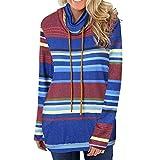 Riou Pullover Damen mit Hohem Kragen Mode Casual Gestreift Langarm Sweatshirt Elegant Streetwear Slim Fit Tops (XL, Blau)