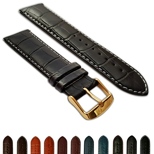 24mm Uhrenarmband schwarz & weiß Echtleder Mock Croc Band Herren Krokodil Gepolsterte Gold Schnalle -