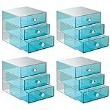 iDesign Drawers Make-Up-Organizer 4er-Set | hochwertige Aufbewahrungsboxen für Schminke, Kosmetika & Co. | Schubladenboxen mit je 3 Schubladen | Kunststoff aquamarinblau