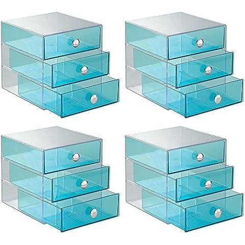 Interdesign, Organizer con 3 cassetti, 4 pz., Blu (Blau)