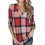 IMJONO Bluse Damen elegant Frauen Spitze Mode Vintage,Lässige Plaid der Frauen gedruckt V-Ausschnitt Shirt unregelmäßiger Rand Langarm Top Bluse(Large,rot)