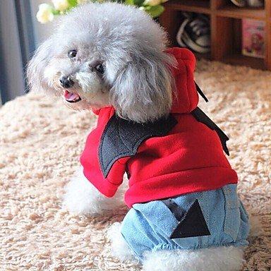 Imagen de perros disfraces mono ropa para perro invierno primavera/otoño angel y diablo adorable cosplay halloween negro rojo , rot alternativa
