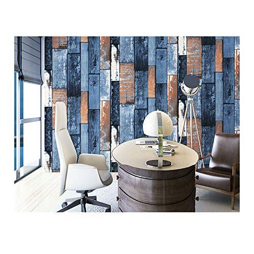 JJHH Retro Faux Holz Plank Tapetenrollen Vintage Vinyl Holz Tapetenwandbilder Office Home Küche Badezimmer Hintergrund Wanddekoration,Blau -