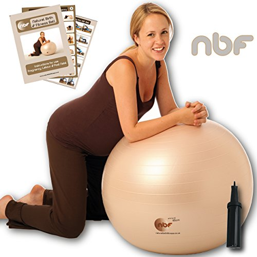 Natural Birth & Fitness Birthing Ball & Pump - NBF Anti-Burst Birth Ball with Instruction Guide for Pregnancy & Labour. 55cm 65cm 75cm.