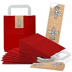 5 rote kleine papiert ten geschenktasche weihnachten verpackung 18 x 8 x 22 cm 5 aufkleber. Black Bedroom Furniture Sets. Home Design Ideas