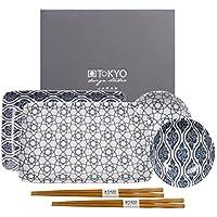 TOKYO design studio, Nippon Grey, Sushi Set, 6teilig. 2 Sushi Platten, 2 Saucenschalen, 2 Paar Holz Chopsticks. Sushiteller Porzellan Set.