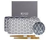 Tokyo Design Studio, Nippon Black, Sushi Set, 6teilig. 2 Sushi Platten, 2 Saucenschalen, 2 Paar Holz Chopsticks. Sushiteller Porzellan Set.