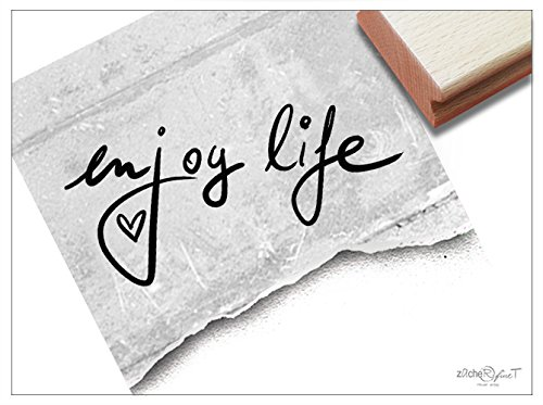 (Stempel -Textstempel Enjoy Life Handschrift - Schriftstempel Glückwünsche Einladung Gutschein Karten Geschenke Basteln Deko - von zAcheR-fineT)