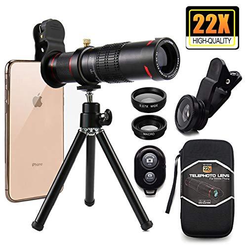 Kit de Téléobjectif, Kit de Lentille 4 en 1 Téléobjectif 22X+Lens Fisheye 180°+Macro+Grand Angle 0.67X+Télécommande+Petit Trépied/Boîte Portable,pour iPad/iPhone,Huawei,Samsung,Xiaomi,etc