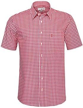 Almsach Kurzarm Trachtenhemd Bene Regular Fit in Rot inklusive Volksfestfinder