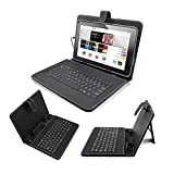 Noza Tec 9' PU Leather Keyboard Case Stand Cover Mirco USB Connector With LED Indicators For 9' inch Tablet PC Black