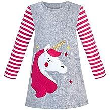 Sunny Fashion Vestido para niña Algodón Manga Larga Unicornio Bordado Gris ...