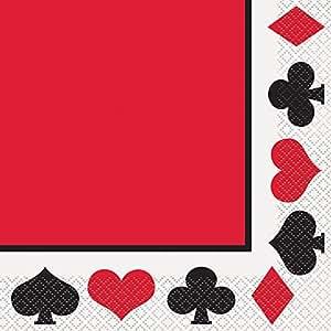 Unique Party 49672 - 16,5 cm Tovaglioli di Carta per Feste a Tema Casinò, Confezione da 16