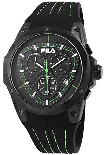 Fila Reloj de hombre con pulsera de silicona verde negro Cronógrafo Deportivo Modern 10ATM resistente al agua fecha cronómetro