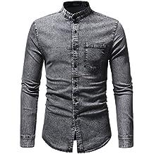 Camisas de Hombre Manga Larga,Dragon868 2018 Otoño Invierno Vintage Denim Camiseta Blusa para Hombres
