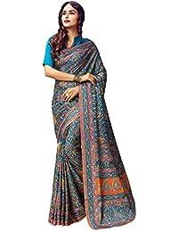 AppleCreation Women's Silk Saree With Blouse Piece (Pashmina Silk Sarees_Ksmr19005B_Sky Blue)