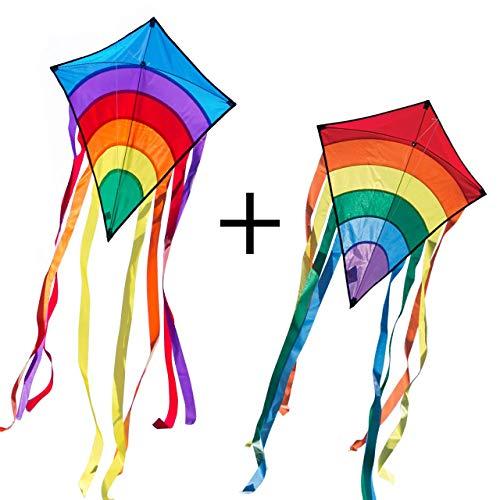 CIM Drachenset - Rainbow Eddy [ 2 STÜCK blau/rot ] - Einleiner Flugdrachen für Kinder ab 3 Jahren - 65x74cm - inkl. 80m Drachenschnur und 8x105cm Streifenschwänze