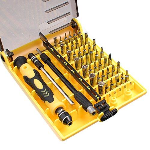 TORX 6089C - Set attrezzi di precisione 45 in 1, avvitatore per cellulare, PC portatili