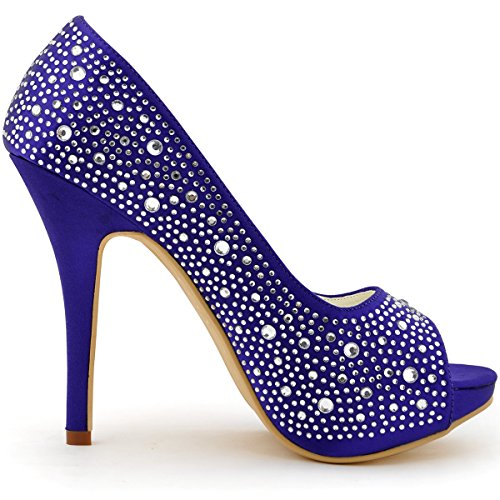 ElegantPark EP11066-IP Escarpins Femme Satin Bout Ouvert Aiguille Plateforme Diamant Chaussures de mariee Bal Violet