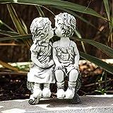 garden mile® - Statua Ornamentale da Giardino, per aiuole, Patio, Stagno e Stagno con Effetto Pietra Bianca