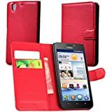 Guran® Funda de Cuero Para Huawei Ascend G630 (5.0 pulgada) Smartphone Tirón de la Cubierta de la Función de Ranura Tarjetas y Efectivo Caso-rojo