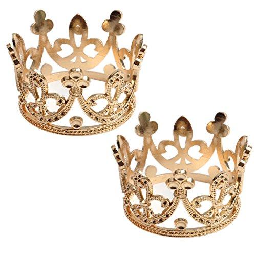perfeclan 2X Barock Stil Krone Tiara Diadem Haarschmuck Kopfschmuck kostüm Zubehör (König & Queen Kostüm)