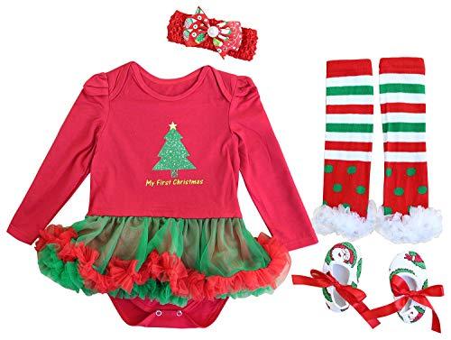 FANCYINN Baby Mädchen Weihnachts Outfits Festival Kostüm Säugling Tutu Kleid 4 Stück Kleidungsset rot 73